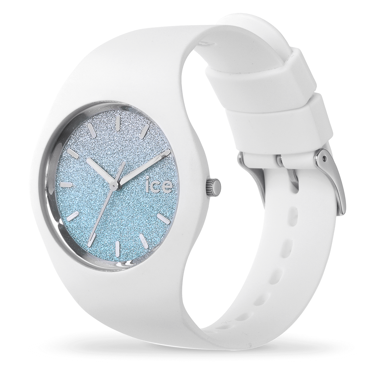 montre ice watch ice lo blanche bleue moyenne. Black Bedroom Furniture Sets. Home Design Ideas